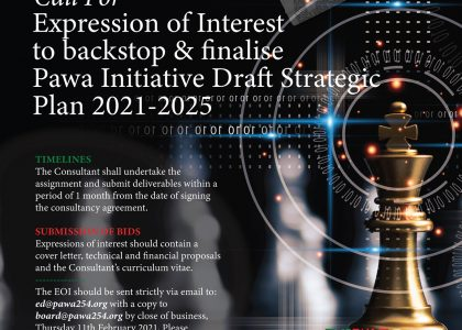 CALL FOR EXPRESSION OF INTEREST TO BACKSTOP AND FINALISE PAWA INITIATIVE DRAFT STRATEGIC PLAN 2021-2025
